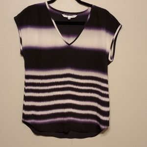 Trina Turk Sleeveless Blouse Silk Purple white-I29